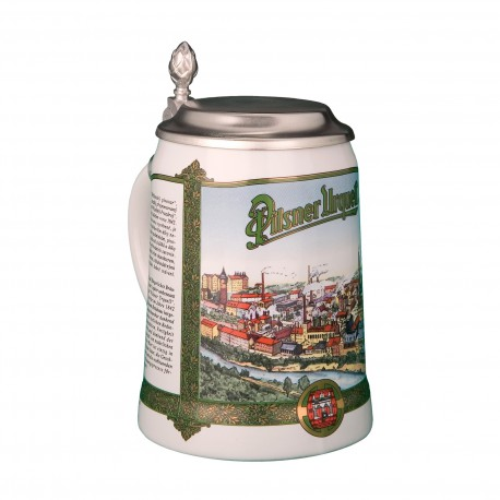 Tankard with a view of Pilsner Urquell 0,5 l with a pewter lid